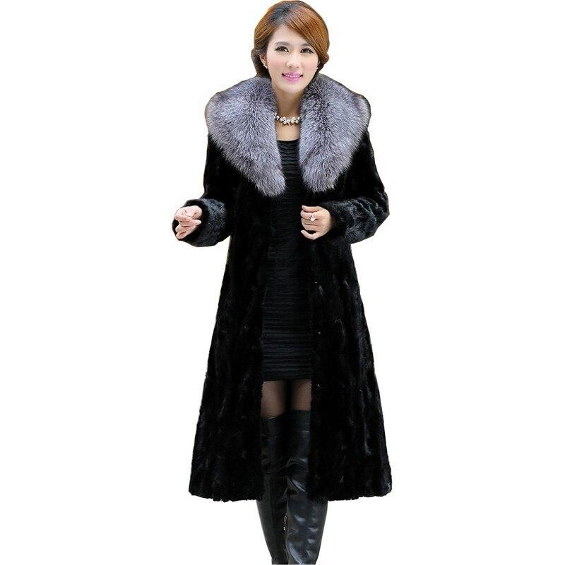 Роскошные нарезанный норковая шуба куртка Fox меховой воротник Зима Натуральная Для женщин меха X-длинная верхняя одежда плюс Размеры 3XL 4XL 5XL ...