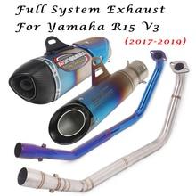 Sistema completo de escape para YAMAHA R15 V3 2017 2018 2019 DB Killer tubo extraíble con conexión de enlace de silenciador tubo de tubo delantero