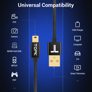 Image 2 - TOPK Mini USB kablosu Mini USB USB hızlı veri eşleştirme şarj kablosu için cep telefonu dijital kamera MP3 MP4 oynatıcı tabletler GPS