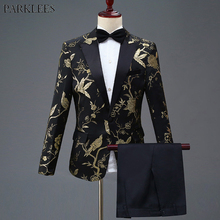 Gold Flower Bird Embroidery Dress Suit Men Slim Fit One Button Mens Suits With Pants Stage Prom Wedding Grooms Costume Homme 4XL