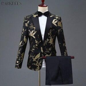 Image 1 - זהב פרח ציפור רקמת שמלת חליפת גברים Slim Fit כפתור אחד Mens חליפות עם מכנסיים שלב נשף חתונה חתנים תלבושות homme 4XL