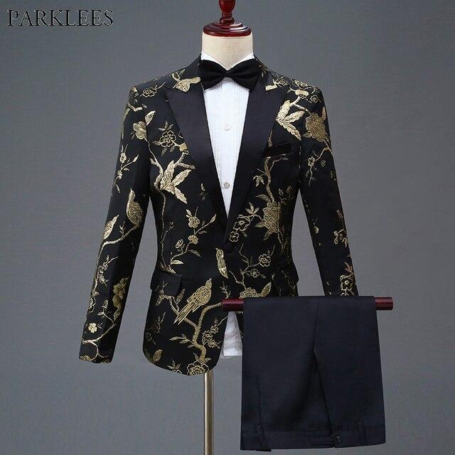 זהב פרח ציפור רקמת שמלת חליפת גברים Slim Fit כפתור אחד Mens חליפות עם מכנסיים שלב נשף חתונה חתנים תלבושות homme 4XL