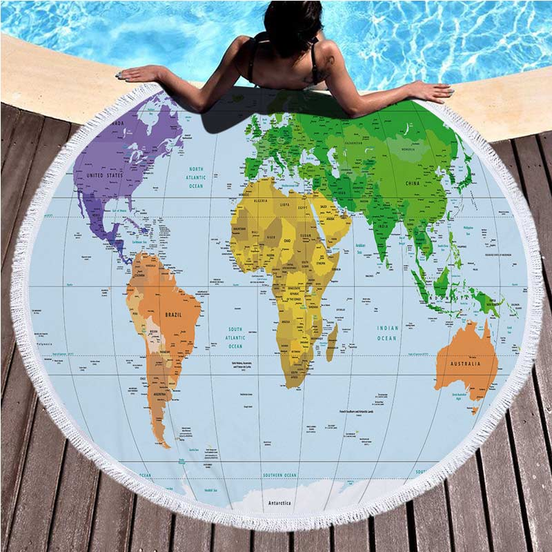 World Map Throw Rug: Lannidaa Microfiber Round Beach Towel Blue World Map