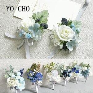 YO CHO синий белый цвет Шелковая Роза Гортензия Флер искусственная свадебная бутоньерка на запястье для свадьбы рождественские украшения веч...