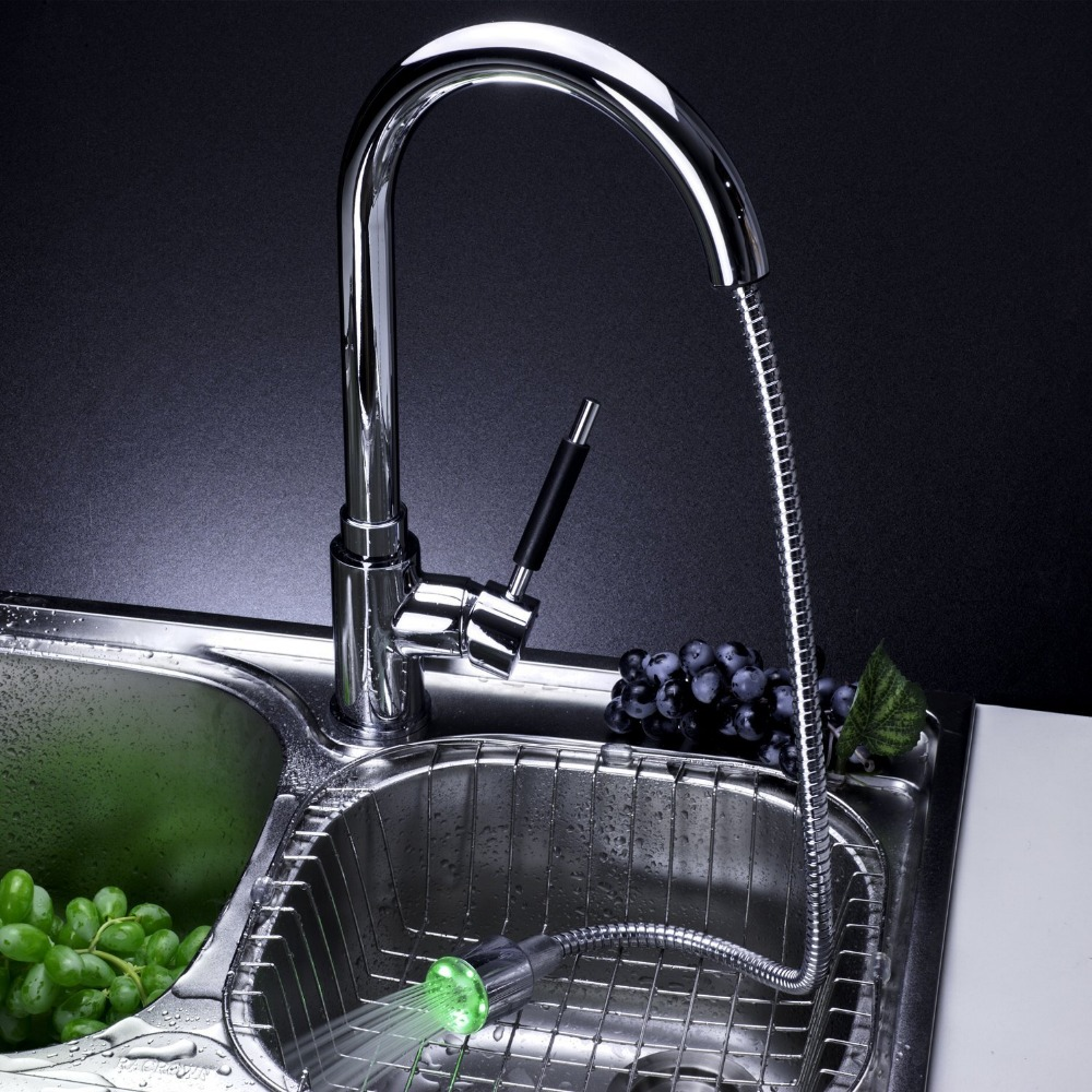 LED Color Changing Chrome Finish Pull out Kitchen Faucet Single ...