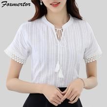 Для женщин хлопковые повседневные блузки, рубашка летние шорты с длинными рукавами элегантное Офисные женские туфли Женская одежда белое платье с прорезями на Blusas Размеры