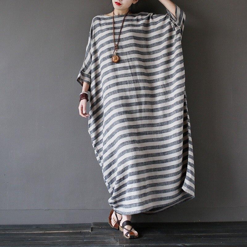 Summer New Linen Striped Plus big size Women Long Dress Oversized Loose Casual Maxi Dress Gray