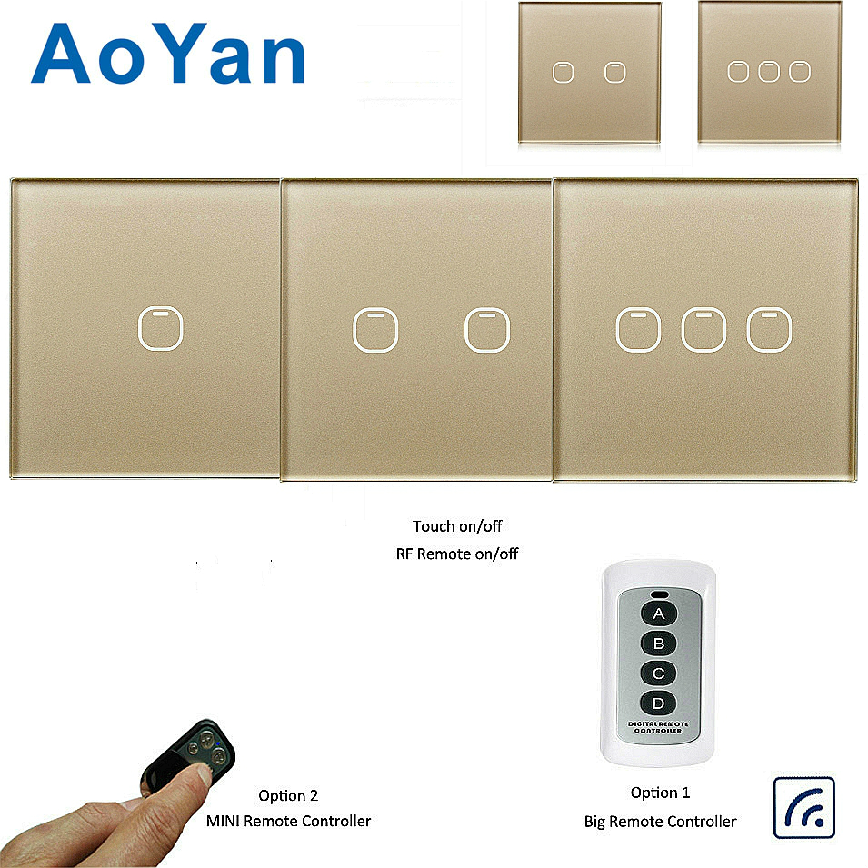 AoYan EU standard Touch Switch 1 2 3 Gang 1 Way Wireless Light Switch LED Indicator For Smart Home Touch Switch with Remote funry eu uk standard wireless remote control light switches 2 gang 1 way remote control touch wall switch for smart home