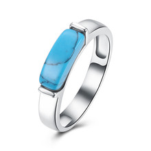 Classic Simple Design Blue Kallaite Turquoises Stone Rings For Women OL Style Unisex Charm Rings Hot Sale Fashion Jewelry