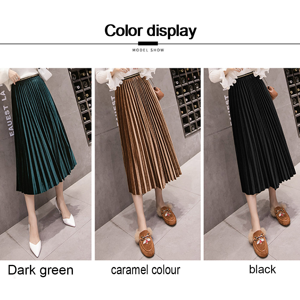 262f5dd394 Autumn Women Suede Skirts Long Pleated Skirts Women 2019 New Fashion Midi  Skirts Knee Length Tassel Black Bottoms Woman Clothes-in Skirts from Women's  ...