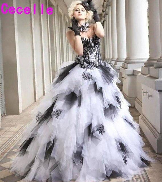 שחור ולבן בציר כדור שמלת גותית חתונת שמלות 2019 מתוקה שרוכים קפלי חצאית צבעוני שמלות כלה עם צבע