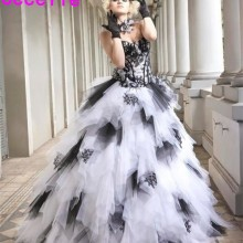 cecelle Black White Vintage Ball Gown Wedding Dresses 2019