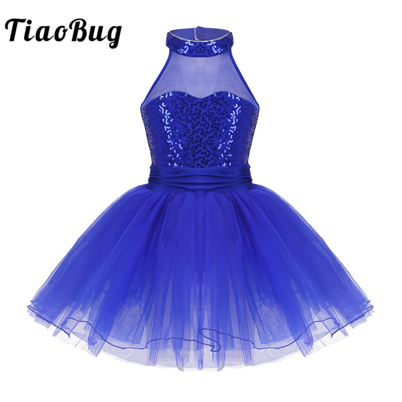 <font><b>TiaoBug</b></font> Kids Sleeveless Sequin Mesh Splice Ballet Tutu Dance Leotard Dress Girls Gymnastics Leotard Ballerina Party Dance Dress image