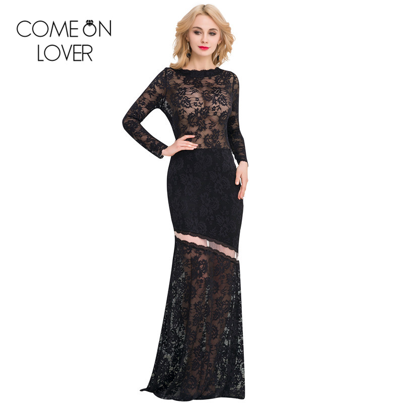 VE1042 Comeonlover New Lace Long Dress Floral See Through