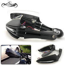 "7/8 ""22mm 오토바이 핸드 가드 바 엔드 카본은 혼다 가와사키 ktm 폴라리스 용 led 라이트 유니버설으로 떨어지는 프로텍터를 보입니다."