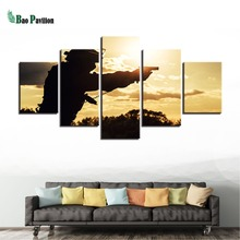 Home Decoration Popular Canvas Abstract Wall Art 5 Panel Soldier Framework Paintings Modern Modular Sunset Pictures Poster