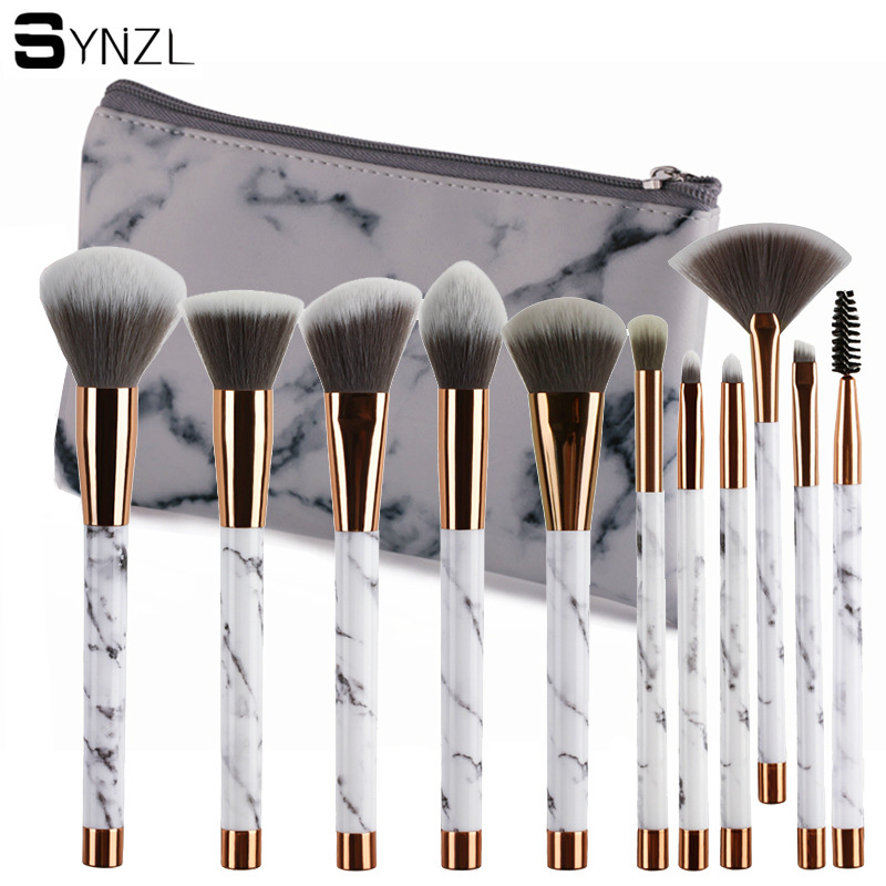 11Pcs Marble Makeup Brushes Set Powder Foundation Eyeshadow Cosmetic Tools Marble Makeup Brush Eyes Concealer Brush bob cosmetic makeup powder w puff mirror ivory white 02