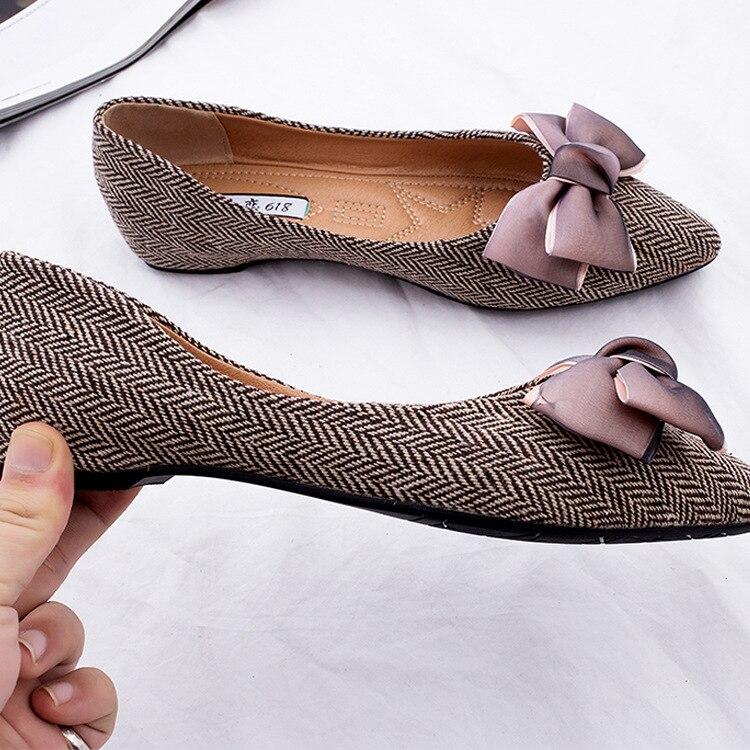 Bout Chaussures Mode Peu Élégant Sur Profonde Pointu Ziselu Doux noeud De Printemps Appartements Confortable Marron gris Femmes Slip automne Papillon zvWWZ5q