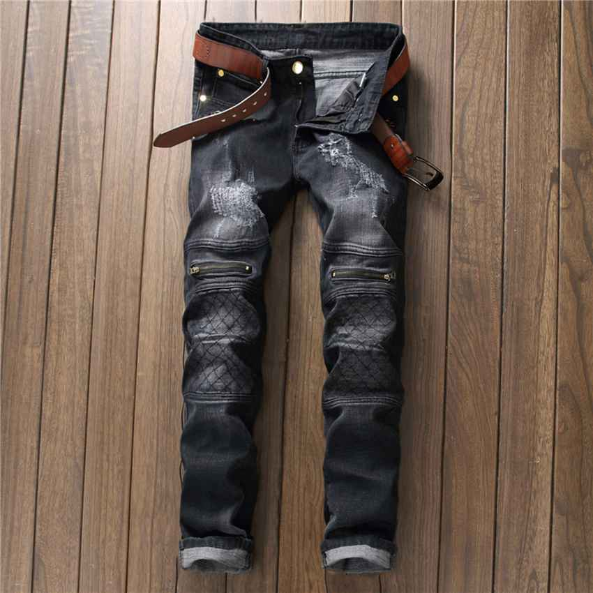 #1518 Straight Ankle zipper jeans Mens jogger jeans Grey Hip hop jeans men Motorcycle Biker Skinny Elastic ripped jeans for men