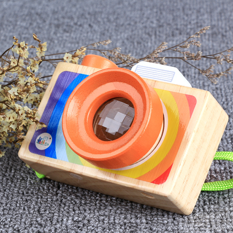 Childrens Wooden Toy Cute Cartoon Camera Kaleidoscope Toy Colorful Toy Montessori Learni ...