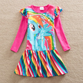 Аккуратные Розничная девочка одежда Прекрасные платья дети одежда моя маленький пони девушка платье с длинным рукавом хлопок девушка одежда LH6010
