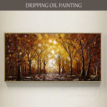 Artist Hand-painted High Quality Modern Abstract Forest Oil Painting on Canvas Birch Tree Match for Brown Furniture