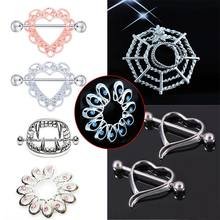 1/2Pcs Sexy Crystal heart-shaped lace Surgical Steel Body Nipple Shield Ring Barbell Piercing allergy-friendly green Jewelry(China)