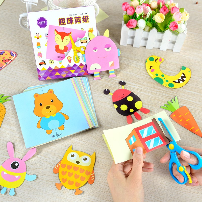 100 Pcs Children Cartoon Colorful Paper Cutting And Folding DIY Craft Toys Kids Kindergarten Paper Art Craft Handmade Toy Gift