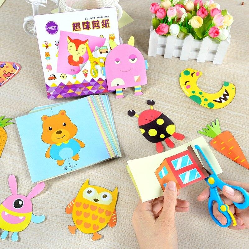 100 Pcs Children Cartoon Colorful Paper Cutting And Folding DIY Craft Toys Kids Kindergarten Paper Art Craft Handmade Toy Gift