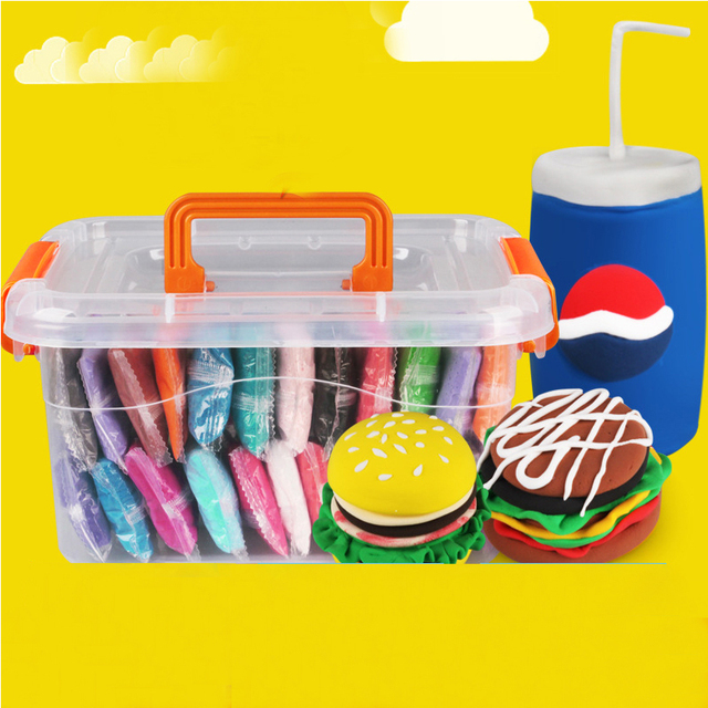 24pcs Play Doh Slime Fimo Polymer Plasticine DIY Plasticine Clay DIY Light Creative Handgum Toys Slime Clay Air Dry Playdough