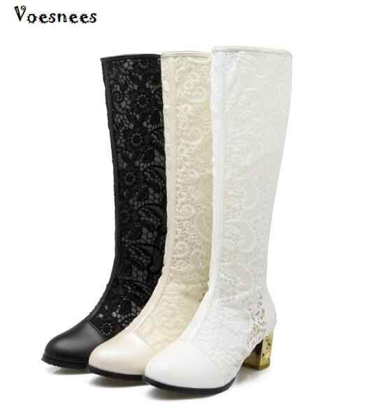 2019 แฟชั่นผู้หญิงรองเท้างานแต่งงานรองเท้ารองเท้าหญิงยืด PU หนังรองเท้าผู้หญิงสีดำสีขาวเข่า - ความยาวรองเท้า