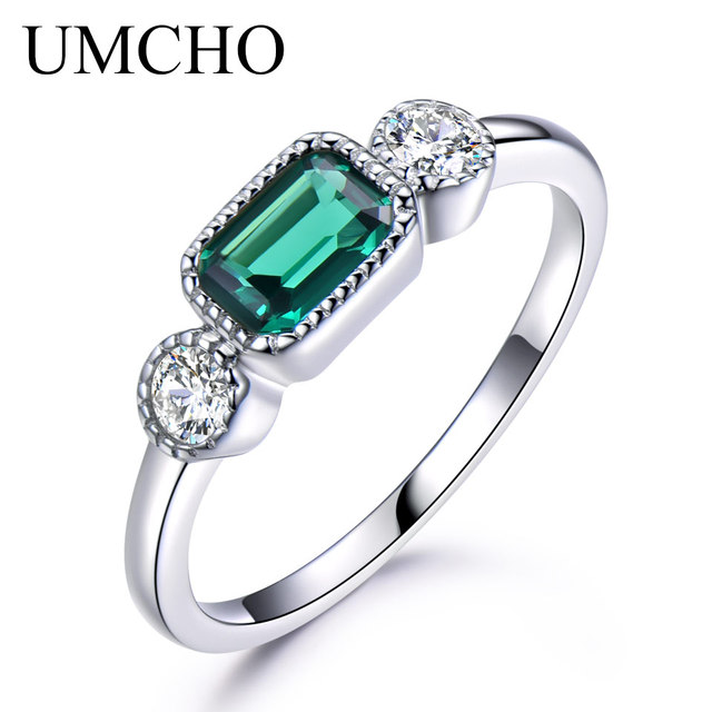 UMCHO Nano Russian Emerald Real 925 Sterling Silver Rings For Women May Birthsto