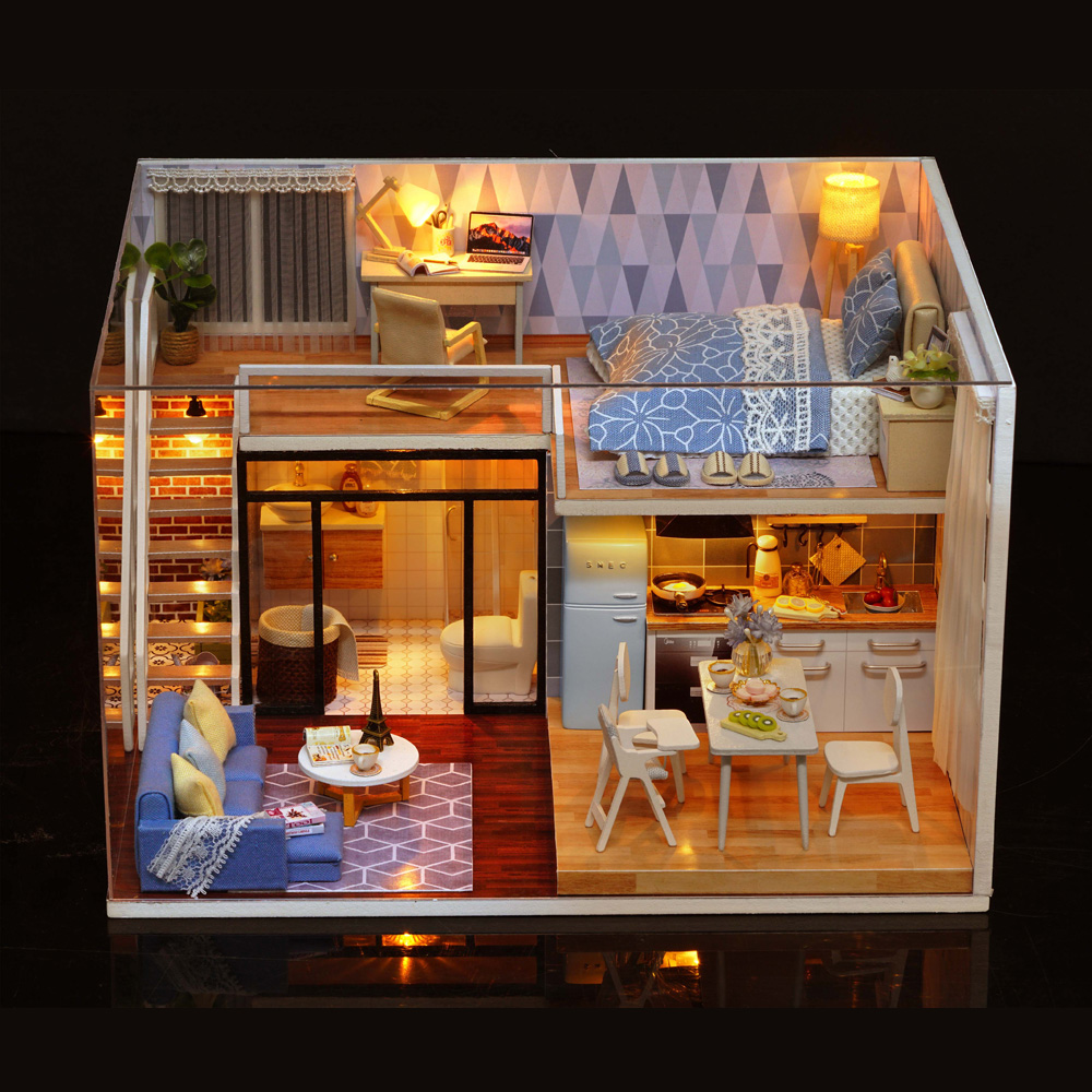 EFFD Lovely Doll Girls Cute Model Building Kits DIY Wood Dollhouse Doll House