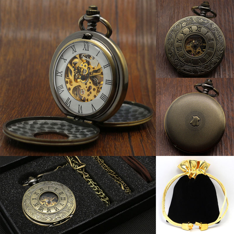 Vintage Antique Roman Numbers Mechanical Hand Wind Pocket Watch Set For Men Women Gift With Pocket Box Bag & Pocket Chain Belt