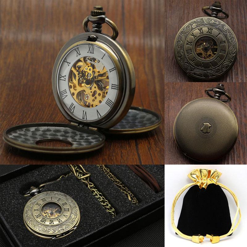 Vintage Antique Roman Numbers Mechanical Hand Wind Pocket Watch Set For Men Women Gift With Pocket Box Bag & Pocket Chain Belt