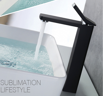 Free shipping Top Quality White and Black Brass Waterfall Faucet Bathroom Sink Faucet  Basin Faucet Tap New Water Tap