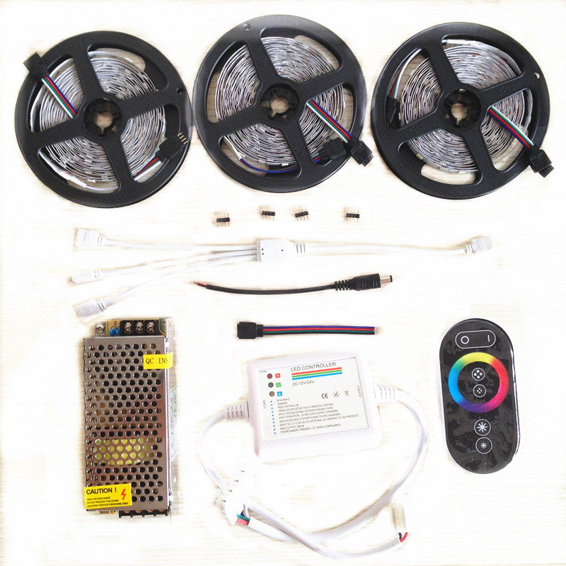 20M 15M 10M RGB Led Strip lights 5050 fita de led tape DC 12V SMD 30Leds/M +RF Touch Remote Controller+Power Supply full set 20m smd 5050 rgb led strip light 60leds m led flexible tape rope lights 18a wireless touch remote controller dc 12v power supply