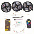 20M 15M 10M RGB Led Strip lights 5050 fita de led tape DC 12V SMD 30Leds/M +RF Touch Remote Controller+Power Supply full set