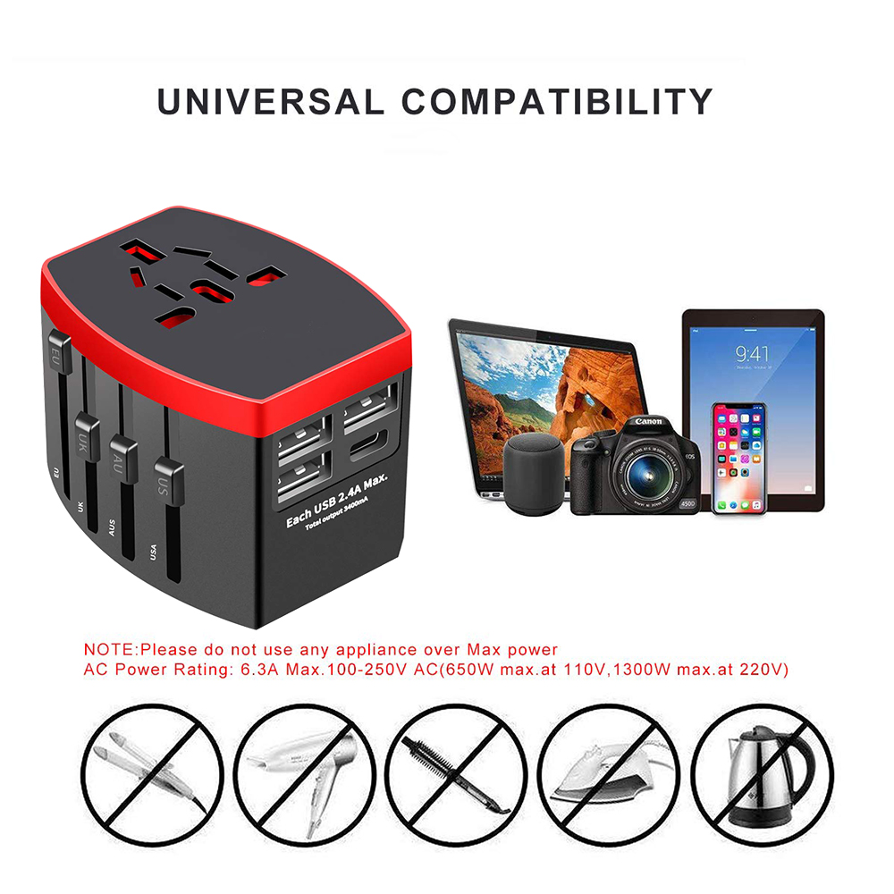 Rdxone Travel Adapter International Universal Power Adapter All in one with Type C 3 USB Worldwide Wall Charger for UK EU AU US in International Plug Adaptor from Consumer Electronics