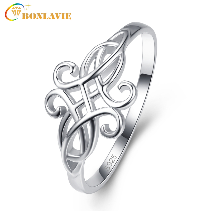 BONLAVIE Women's 925 Sterling Silver Celtic Hollow Knot Infinity Eternity Wedding Band Stackable Ring