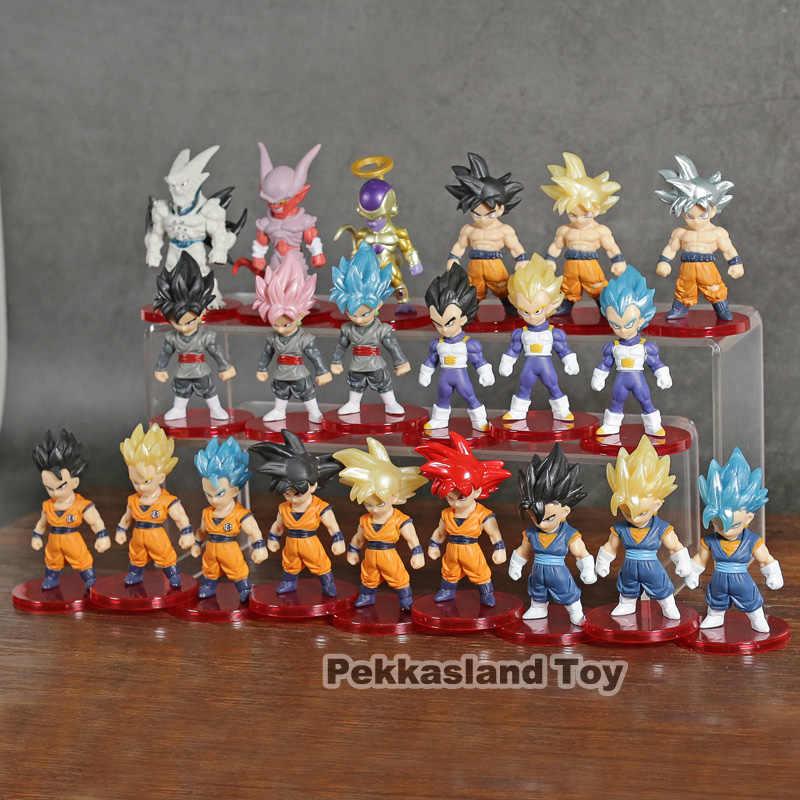 Dragon ball super saiyan deus azul filho goku ultra instinto gohan vegeta freeza figuras brinquedos brinquedos figurais 21 pçs/set