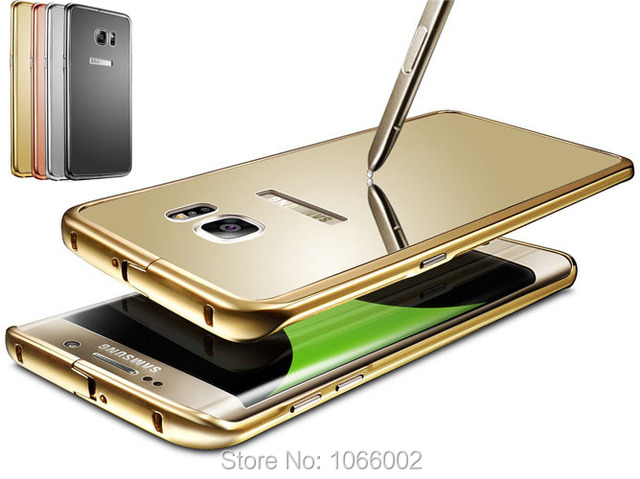 size 40 6558d 561ca US $7.69  Gold Glossy Mirror Back Cover+Metal Alloy Clip Border Case Capa  for Samsung Galaxy S6 Edge Plus Rose Gold Slim Fit Metal Frame on ...