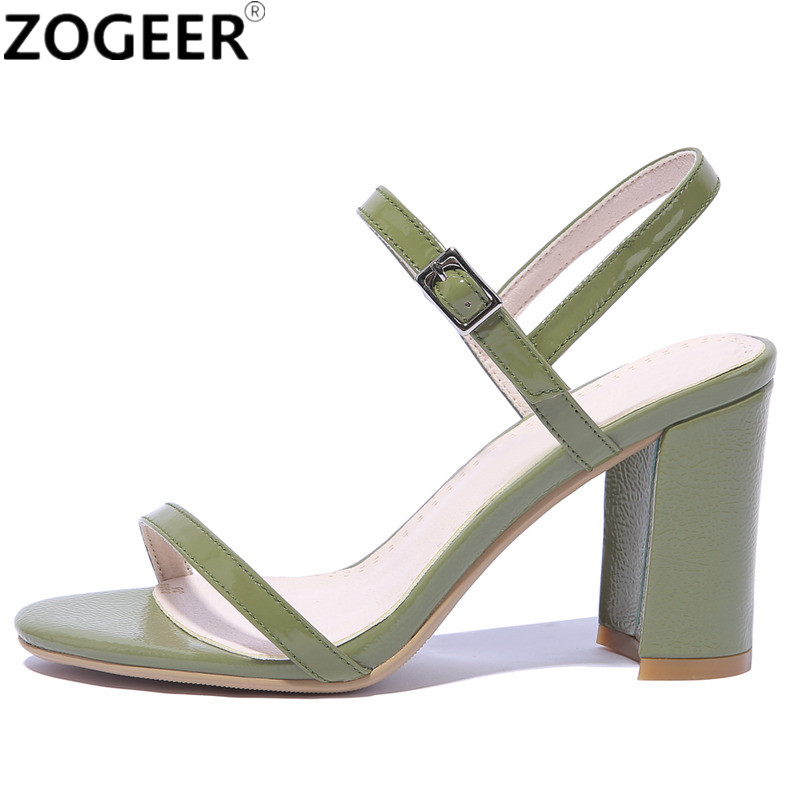 Plus Size 48 Sandals Women Genuine Leather Top Quality Fashion Summer Square High Heel Party Shoes Woman Sweet Green Sandal free shipping 2017 summer fashion women s full grain leather party sandals high heel sweet cover heel handmade shoes for women