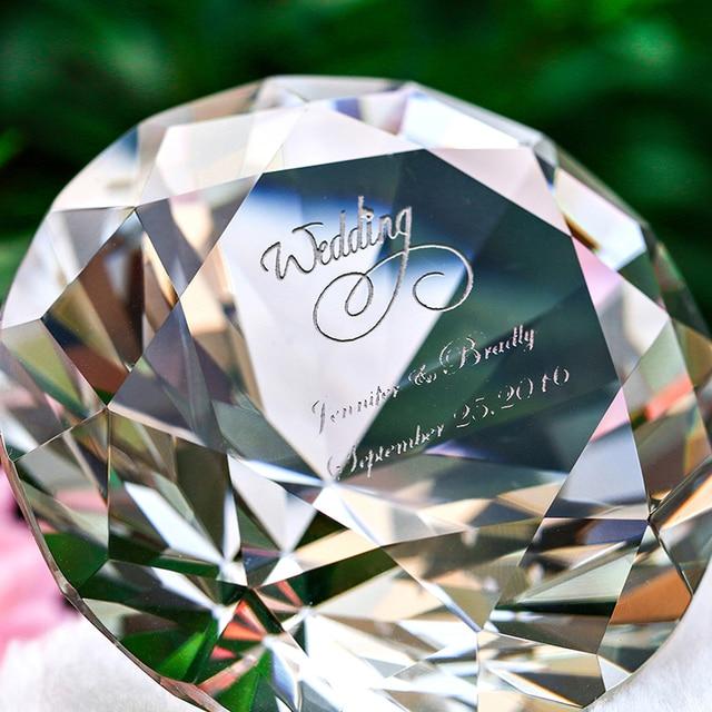 60 мм Принять Печать на Кристалл Алмаза Пресс-Папье Ремесел Коллекции Сувениров Рождения Рождественские Свадебные Подарки Декор