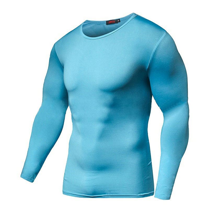 Men Compression T Shirts Elastic Keep Fit Fitness Long Sleeves Solid Base Layer Skin Tight Weight Lifting Shirts Homme