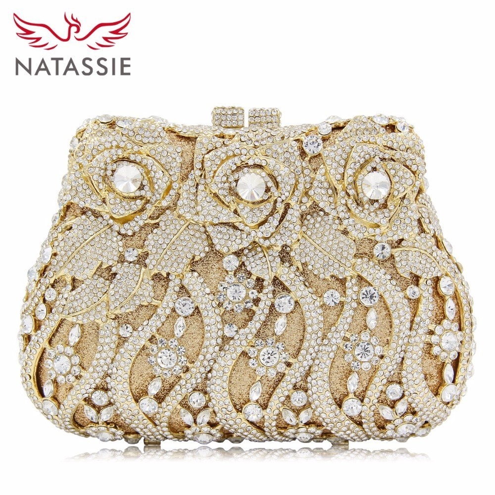 NATASSIE Ladies Flower Evening Bags Wedding Women Clutch Crystal Bag Female Clutches Socialite Style Party Purse natassie women crystal clutches bags ladies evening bag female red purple party clutch wedding purse