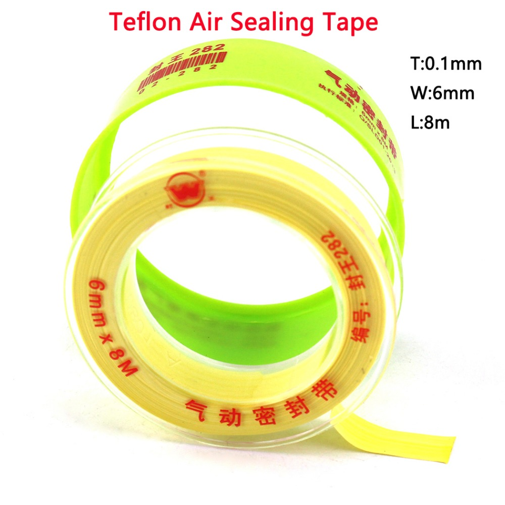 PCP Paintball Durable Airforce Teflon Air Sealing Tape Yellow High Density Raw Tape 8M Long 0.1mm Thickness 6mm Wide Replacement