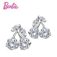 Barbie Diamantes CZ Forma Cerezas e Imitado Perla Aretes de Diseño de Joyas de Oro y Plata de Color para la Mujer de Regalos