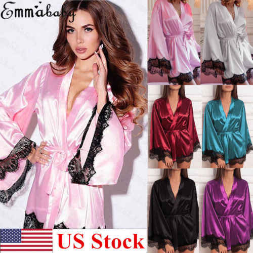 女性サテンシルク着物ローブガウンウェディング下着ナイトドレスパジャマバスローブ