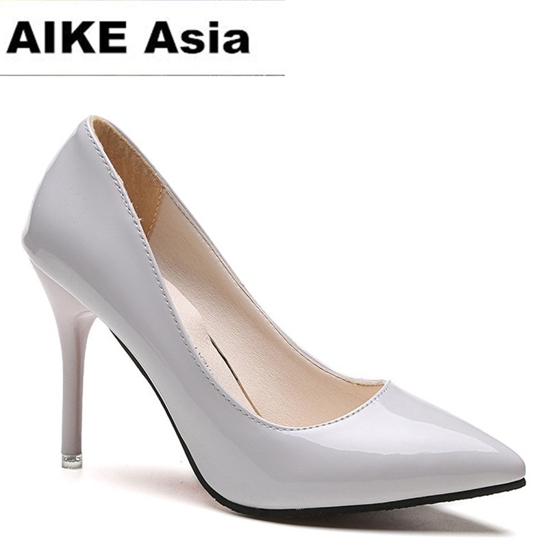 Size 34-43 New 2017 Women pumps Fashion pointed toe patent leather high heels Spring autumn wedding shoes women Zapatos Mujer enmayer spring autumn women fashion wedding pumps shoes rhinestone beading pointed toe slip on thin heels large size 34 43 white